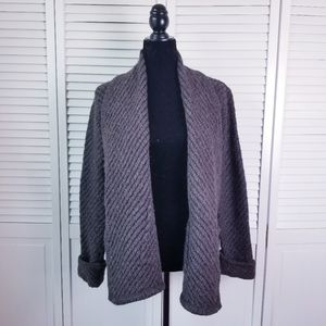 Eileen Fisher Open Front Wool Brown Cardigan Small